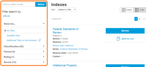 The indexes page with options to filter and search within results. See instructions above.