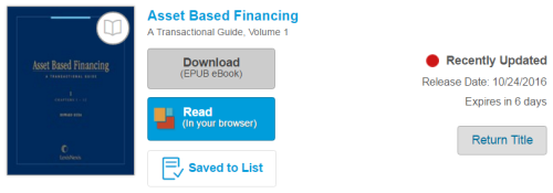 A recently updated title on the checkouts page.