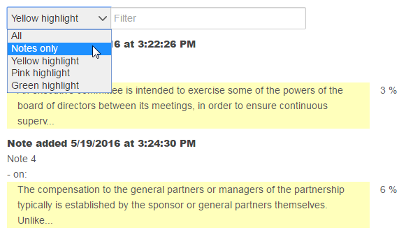 Filter options on a notes and highlights page. See instructions above.