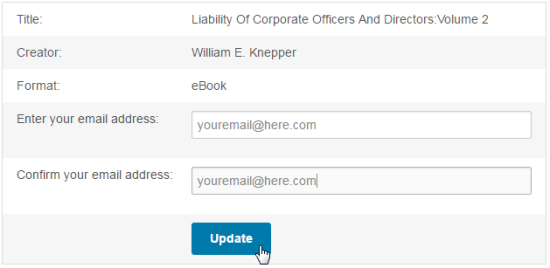 Update email address form for a hold. See instructions above.