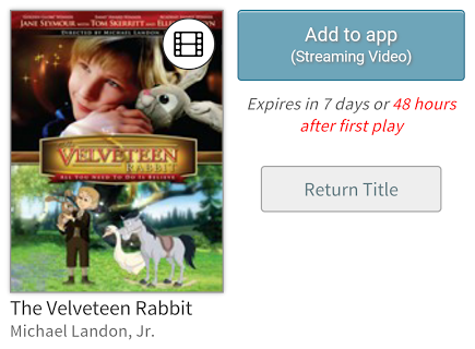 Streaming Video add to app button